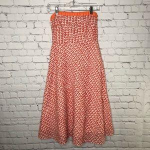 J. Crew Mushroom Print Seersucker Strapless Dress